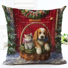 Kitten & Puppy Christmas Cushion Cover. 30% proceeds from every purchase goes to animal charities.