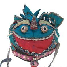 vintage chinese children's cookie-monster hat