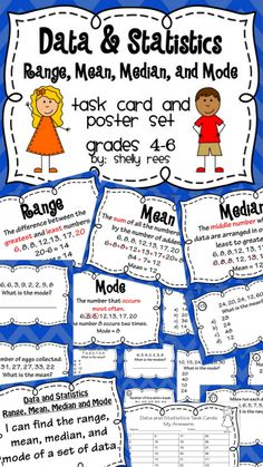 Mean, Median, Mode, and Range Task Card and Poster Set makes it easy to teach and reinforce this concept!  Perfect for Math Centers, Scoot Games, Group work, or Independent Work!  Colorful and fun way for Grades 3-6 to practice finding mean, median, mode, and range!