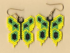 Native American Seed Bead Patterns | Beaded Yellow Butterfly Earrings