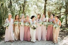 Blush Bridesmaid Gowns // A Romantic Amelia Island Wedding via TheELD.com Mixed Bridesmaid Dresses, Mix Match Bridesmaids, Rose Gold Bridesmaid, Wedding Bridesmaids, Bridesmaid Outfit, Stunning Wedding Dresses, Princess Wedding Dresses, Wedding Dress Styles, Wedding Colors