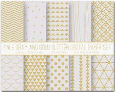 Gray And Gold Glitter Digital Scrapbook Paper Set