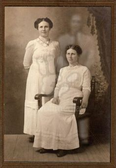 Vintage Strange Occult Photo Two Women With A Ghost Behind Them