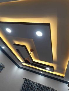 L shape false ceiling by classicspaceinterior Drawing Room Ceiling Design, Pvc Ceiling Design, Simple False Ceiling Design, Plaster Ceiling Design, Interior Ceiling Design, Gypsum Ceiling, Ceiling Decor, Ceiling Ideas, Fall Ceiling Designs Bedroom