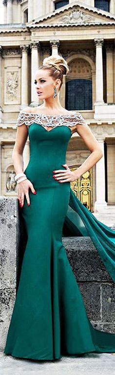 TARIK EDIZ Emerald 2014 Gown