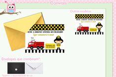 Convite + Envelope Bombeiro Amarelo.