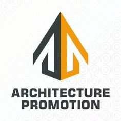 Abstract geometric logo that shows the black and yellow halves of a building with peaked roof that makes it look like an arrow. Construction, development, promotion, progress, growth, building, arrow, architecture, legal, tent, protection