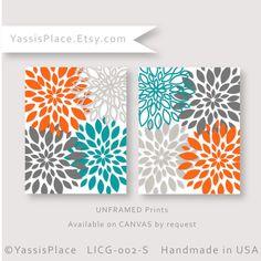 Floral Nursery Decor Turquoise Orange Gray Flower by YassisPlace, $32.00
