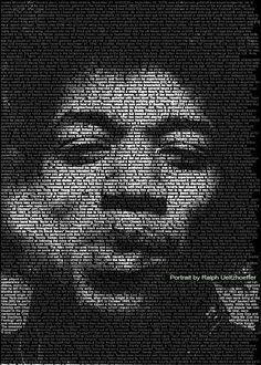 Jimi Hendrix Mind-Blowing Text Portraits of Famous Musicians and Artists by Caroline Stanley. Image credit: Ralph Ueltzhoeffer