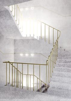 Terrazzo staircase + brass hand rail.