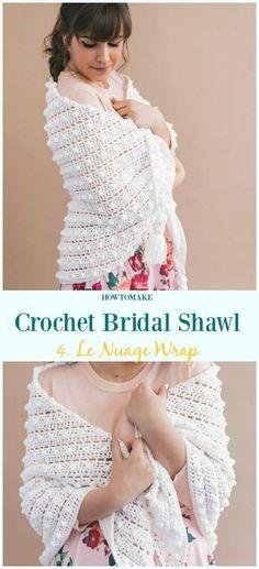 Le Nuage Wrap Free Crochet Pattern-Crochet Bridal Shawl Free Patterns