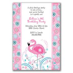 Image detail for -... flamingo zoo pool beach swimming or water themed girls birthday party