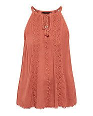 Rust Embroidered Tassel Tie Front Cami  | New Look