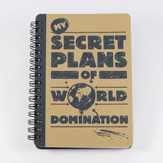 Spiral bound Mini Notebook My Secret Plans of World Domination. Hand bound, paper and cardstock cut by hand. ☛ cover: recycled cardstock,