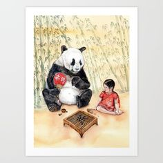 https://society6.com/product/playing-go-with-panda_print?curator=listenleemarie Collect your choice of gallery quality Giclée, or fine art prints custom trimmed by hand in a variety of sizes with a white border for framing.