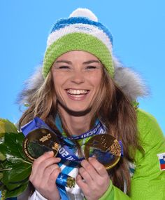 Gold medalist Tina Maze of Slovenia celebrates during the medal ceremony for the Women's Giant Slalom (c) Getty Images