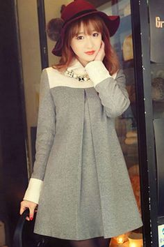 Light Grey Pleated Babydoll Dress