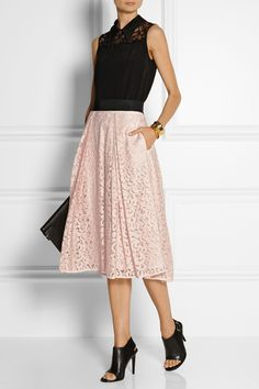 Milly | Floral-lace midi skirt