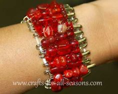 Beaded Safety Pin Bracelet from Crafts For All Seasons