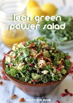 Lean Green Power Salad with kale, quinoa, pomegranate and avocado