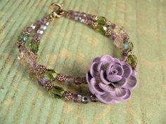 Fantasia - Purple and Green Brass Flower Bracelet | TheFiligreeGarden - Jewelry on ArtFire