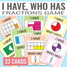 This I have, Who Has Fractions Game is perfect for fractions reassessment. This game set includes 33 game cards with fractions from up to tenth. There are no duplicate equal parts. Perfect resource to round up your fractions unit.