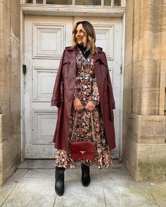 Printed midi dress, long coat and leather boots | For more style inspiration visit 40plusstyle.com