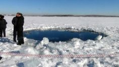Hole in the ice at Russia's Lake Chebarkul, said to be caused by the meteor