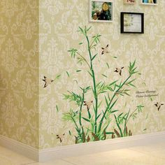 2017 new little bamboo wall stickers china style plants wallpaper home living room saloon restaurant decor tree removal decals #Affiliate