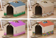 Casas de cartón personalizables para mascotas Cardboard Cat House, Diy Cardboard, Cat House Diy, Pet Rabbit, Diy Stuffed Animals, Play Houses, Guinea Pigs, Toy Chest, Playroom