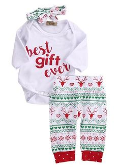 789bd4e78 Brand New Best Gift Ever Baby Set Onesie Headband Nordic Pattern Reindeer  Pants USA Seller Newborn Size Infant Clothes Baby Shower Gifts Boy Girl  Christmas ...