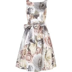 Rosie Belted Dress (14205 DZD) ❤ liked on Polyvore featuring dresses, floral dress, full skirt, floral print prom dresses, white high neck dress and pastel dresses
