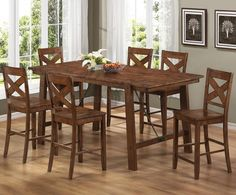 Coaster Home Furnishings Country Counter Height Table, Rustic Oak Add a unique touch to your dining room decor with this stunning pub set. The rectangular Pub Dining Set, Kitchen Dining Sets, Pub Table Sets, Counter Height Dining Table, Pub Set, Dining Rooms, Pub Tables, Dining Tables, Dining Area