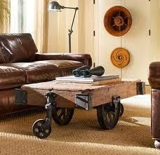 This is a brilliant, nostalgic factory cart that has been recycled into a coffee table for the modern home. It is called the Furniture Factory Cart. History states that during the these carts used to be used to transport … Continue → Industrial Interior Design, Vintage Industrial Decor, Industrial Living, Industrial Interiors, Industrial Furniture, Home Interior, Vintage Home Decor, Industrial Chic, Steampunk Furniture