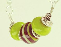 Necklace Lime Green Brown Glass Beads and Suede by jocaledesign, $40.00