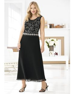 Silver Blooms Beaded Dress