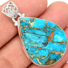 Blue Copper Turquoise 925 Sterling Silver Pendant Jewelry BCTP46 - JJDesignerJewelry