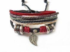 Adjustable leather bracelet men bracelet by braceletbanglecase, $8.00