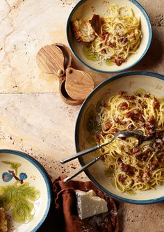 This Roman pasta dish is traditionally made with guanciale—pork cheek that  resembles unsmoked bacon and is cured with salt, pepper and sometimes  garlic. Pancetta makes a fine substitute.  INGREDIENTS     * 3 eggs, at room temperature     * 1 1/2 cups finely grated pecorino romano cheese, plus more for       serving     * 2 Tbs. olive oil     * 6 oz. diced guanciale or pancetta     * Kosher salt, to taste     * 1 lb. dried spaghetti     * Freshly ground pepper, to taste DIRECTIONS   In…