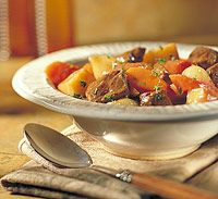Old-Time Beef Stew...the recipe I have been making for 30 years.  Never fails to be great!  I don't do the lemon juice or sugar and add clove instead of all spice.  I also don't add flour at the end as the potatoes tend to thicken the gravy.  Just plain goodness!