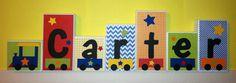 Personalized Wood Blocks - M2M Trains bedding - Baby Room Decor Custom Name Letters - Baby Letter Blocks. $10.00, via Etsy.