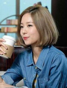 Ideas Hair Color Highlights Blonde For Women Bob Haircut For Girls, Cute Hairstyles For Short Hair, Girl Short Hair, Short Hair Cuts, Bob Hairstyles, Asian Hairstyles, Korean Short Hairstyle, Curly Short, Short Hair With Color