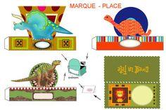 """THEME """" AU TEMPS DES DINOSAURES """" Tout fabriquer pour un anniversaire sur le thème des dinosaures. Marque-place - Kit super complet !"""