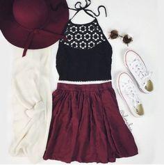 tan cardigan maroon top black skirt white sneakers