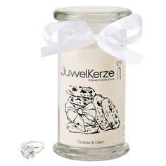 JuwelKerze Duftkerze - Cookies & Cream - Ring Classic | mit 925 Sterling Silber Überraschung bis 250€