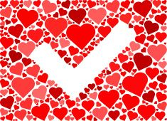 Checkmark Red Hearts Love Pattern vector art illustration