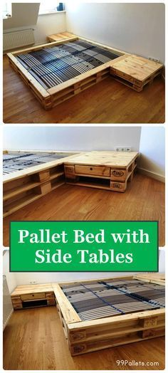 Cozy Pallet Bed with Side Tables | 99 Pallets