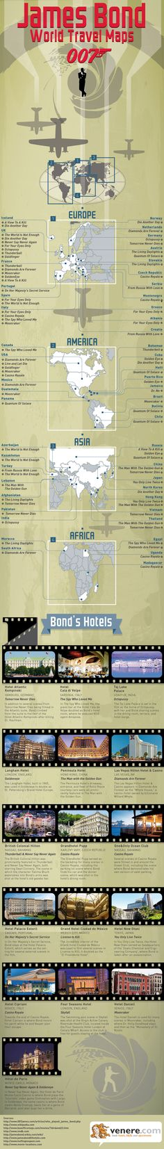 Which parts of the world did James Bond visit in his adventures? In which hotels did he stay? Find it out here!