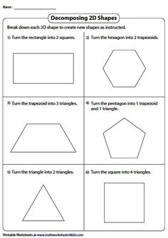 Decomposing Two-Dimensional Shapes Shape Tracing Worksheets, Geometry Worksheets, Introduction To Geometry, First Grade Math, Grade 2, Composite Shapes, Two Dimensional Shapes, Printable Shapes, Teaching Shapes
