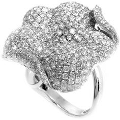 Rings 18K White Gold Diamond Micro Pave Flower Ring ($15,176) ❤ liked on Polyvore